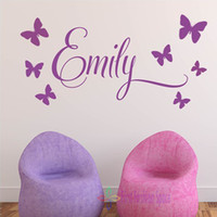 baby child names - Personalised Princess Butterflies Name Baby Girl Wall Decal Nursery Vinyl Sticker Decor Children Wall Art CM