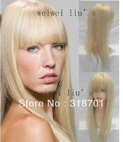 Brazilian Hair Blonde Straight Capless 55cm Blonde Long 100% Human Hair Lovely straight Hair Wig color 613# free shipping