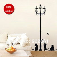 art deco paper - funlife x70cm x28in Animal Wall Stickers Cats amp Lamp Art Mural Wall Paper Deco Sticker Decals