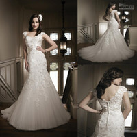 Trumpet/Mermaid Reference Images V-Neck 2014Enchanting Sweetheart Neckline White Ivory Lace Cap Sleeves Crystal Corset Court Train Mermaid Wedding Dresses High Quality