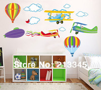 balloon paper airplane - Saturday Mall removable plane wall paper children s room cartoon airplane and hot air balloons sticker decal wall pvc