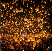 Wholesale Pieces White SKY UFO Balloon Kongming Flying Lanterns Wishing Lamp Christmas Lamp New