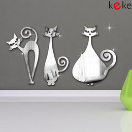 Wholesale Cats home decoration diy mirror wall stick crystal mirror acrylic mirror sticker for wall corner