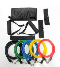 Wholesale 11pcs in set Latex Resistance Bands Fitness Exercise Tube Rope Set Yoga ABS Workout Fitness Freeshipping
