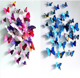 Free Shipping Newest Top Quality Colorful Butterfly 3D Stickers Wall Car Refrigerator Sticker Home Hotel Decal Decor Gift