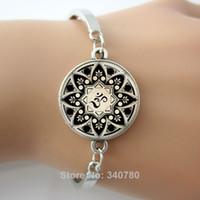 Unisex arts symbol - Glass cabochon dome charm bracelets bangles Yoga Jewelry Om Symbol Enso Zen Meditation Buddha Buddhism Mandala Art Bangles