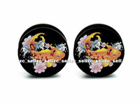 Plugs & Tunnels Acrylic, Resin, Lucite Halloween Wholesale 60pcs body piercing jewelry Carp plug black acrylic screw it ear plug gauges flesh tunnel size 6mm-25mm ASP0400