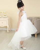 Wholesale White Ivory flower girl dress Fashion Halter Hand Made Flower High Low Hi Lo Fold Satin flower girl dresses Standard code custom made dress