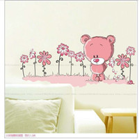bear posters - Cartoon Lovely Pink Bear Flowers Decal Vinyl Wall Stickers PVC Decor Removable DIY Home Art Wallpaper Room House Sticker Poster