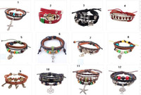 Wholesale 19 Styles Flower leather bracelet love national wind charm bracelet tree leaves fashion jewelry cross cheap jewelry FH