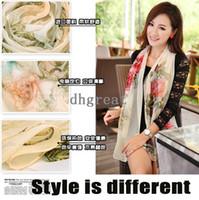 Wholesale 2014 new female long chiffon scarf real silk Georgette scarves Silk Fabric scarf