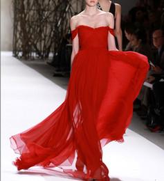 Descuento vestido de noche monique Monique Lhuillier vestidos de fiesta de gasa roja fuera de la longitud del piso de hombro una línea de vestidos de noche Vestidos formales del desfile del partido