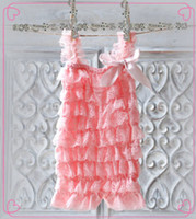 petti romper - Pink Lace Ruffle Romper Girls Lace Petti Romper SALE Price Baby Rompers With Straps and Bow Hot sale kids Clothes