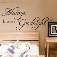 Decal PVC Quotable ZooYoo Original Always Kiss Me Goodnight Quote PVC Removable Wall Decals HOt Selling Wall Stickers For Home Decor ZY2003 H2185