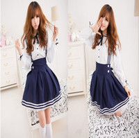 Wholesale 2014 Fashion New women sexy costumes Hallowmas costume school girls maid Cosplay uniform club party stage wear bowknot blue dresses