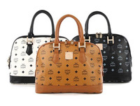 Wholesale PU Leisure fashion retro shells handbag splicing MCM printed bags