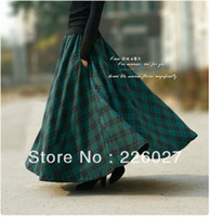 Chiffon Above Knee Women 2014 autumn winter vintage woolen green plaid maxi long skirt with pockets plus size muslim islamic women clothing brand design
