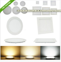 Wholesale 6W W W W W LED Recessed Ceiling Panel Down Light Bulb Lamp Round Square indoor lights V Led Driver
