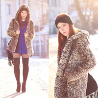 Wholesale Fashion Womens Winter Warm Faux Fur Hooded Leopard Coat Jacket Outerwear Sweats HR797 Drop Shipping