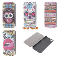 For Apple iPhone Leather Yes Lips & Leopard Print Leather Full Body Case for iPhone 4 4S,Cartoon Owl+Colorful Geometry+Colorful Skull With Flower Drawing