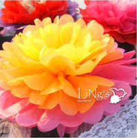 Wholesale Free Ship New Arrive Tissue Paper Pom Poms Flower Ball Wedding Home Decoration Birthday Party Decorations Kids