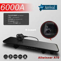1 channel 1.5 1920x1080 car dvr 6000A 4.3'' Vehicle DVR car video recorder in Car Rearview mirror with GPS G-sensor Dual Lens 1080P FHD Rear view camera 720P