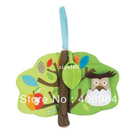 Wholesale baby education cloth tree book mobile rattle toy for kids hide and seek pocket owl