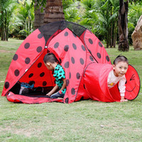 Tents Animes & Cartoons Cloth Large indoor Red crown tunnel ladybird children tents outdoor tent Play house children for gifts toy tent
