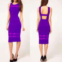 Women Natural Broadcloth blouse Dropshipping Summer Women Purple O-Neck Sleeveless Mesh Knee-Length Bodycon Cocktail Party Pencil Dresses Plus Size XS-XXL