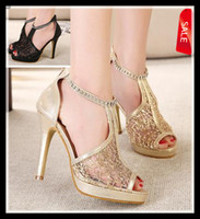 Wholesale 2014 sparkly gold hollow out lace sandals with rhinestone ankle strappy women fashion high heel dress shoes black epacket