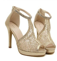 Wholesale 2014 sparkly gold hollow out lace sandals with rhinestone ankle strappy women fashion high heel dress shoes black
