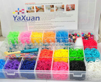Wholesale Rainbow Loom Kit Clear Plastic Box For Kids DIY Bracelets With Rubber Bands Clips Hook Colored Beads PVC Plastic Boxes