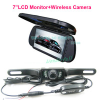 "12V 0 Parking Assistance Free Shipping!!7"" LCD Color Car Mirror Monitor+Wireless IR Reverse Car Rear View Backup Camera car rearview kit"