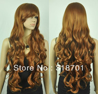 Brazilian Hair Ombre Color Synthetic Hair Long Wavy Heat-resistant Fashion Golden Brown Costume Party Wig Free Shipping