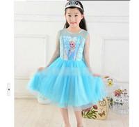 Wholesale stockings EMS FEDEX discount summer dress baby girls dresses frozen Princess Gauze Anna Elsa kid apparel MAY62