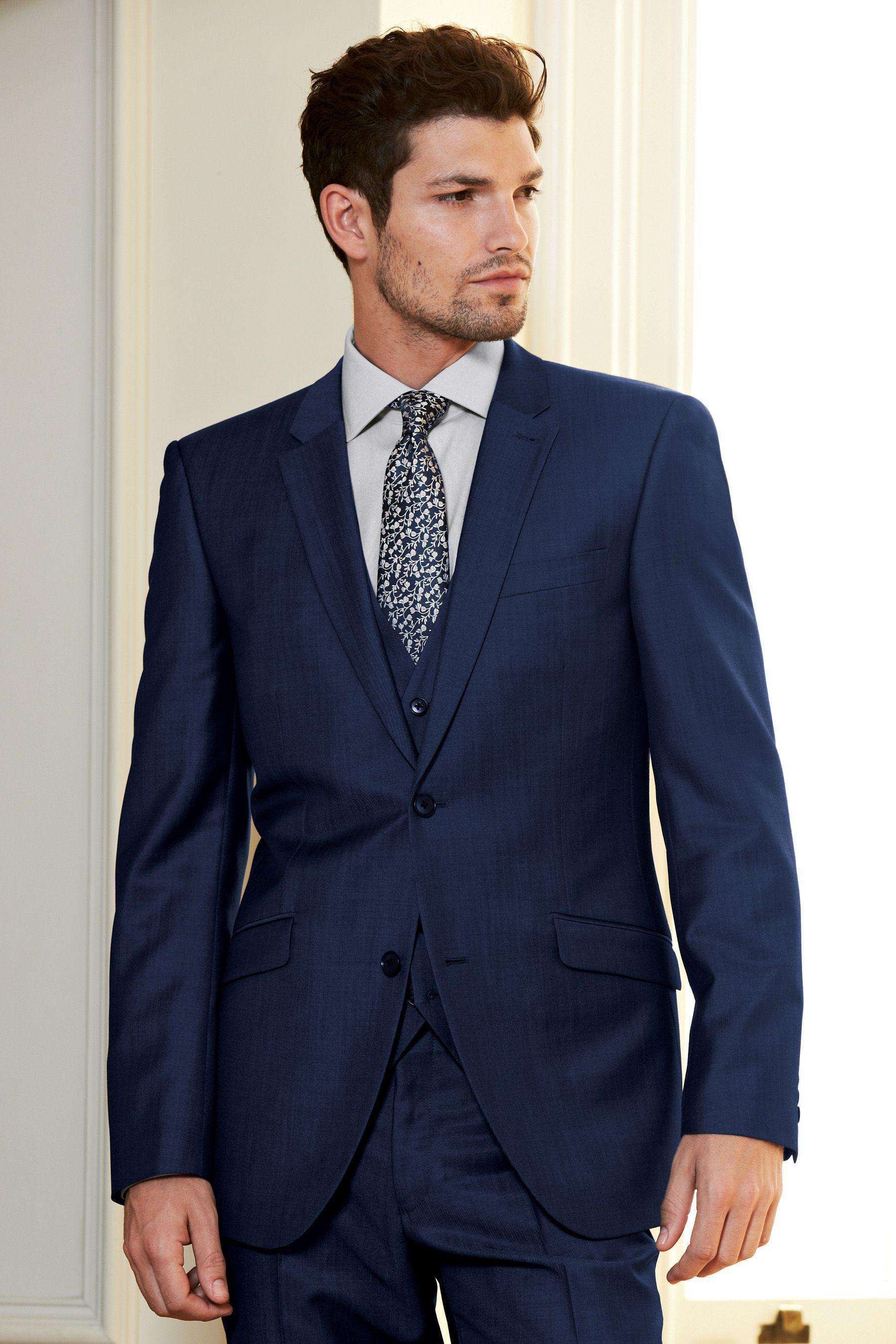 2016 Fashion Color Pocket Flaps Slanted Navy Blue Suits Groom