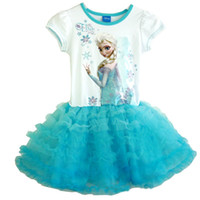 Wholesale Summe Frozen Elsa Anna Baby Girl Tutu Dress Ball Gown Princess Dresses Children Party Pompon Dress Kid s Perform Dresses GX246