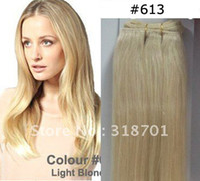 "30g Ombre Color Brazilian Hair 22"" lndian remy human hair weaving weft  Hair bulk #613 Light blonde silk straight Free Shipping"
