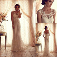 Wholesale 2014 Vintage Sheer Wedding Dresses Backless Lace Beach Wedding Dresses Empire Covered Buttons A Line Wedding Dresses With Short Sleeves