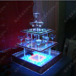 Wholesale The hotel arranged a square wedding ideas birthday celebration fountain glass wine tower sets new wedding props champagne tower