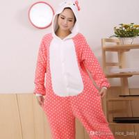 achat en gros de japon chat d'anime-Nouveau Adulte Unisexe Kigurumi Pyjamas Cosplay Onesies Japon Anime Costumes KT Cat Cartoon Animaux Pyjamas Pyjamas Pour Femme Homme