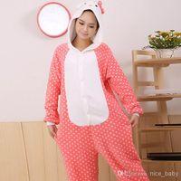 al por mayor japón gato animado-Nuevo Adulto Unisex Pijamas Kigurumi Cosplay Onesies Japón Anime Trajes KT Cat Cartoon Animal Pijamas Pijamas Para Mujer Hombre