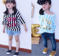 Girl Summer Standard 2014 Summer Children Girls Fashional Short Sleeve T-shirts Korean Kid's Cute Hot Stamping Letters Tee Shirt Kid Boutique Leisure Tops I0675