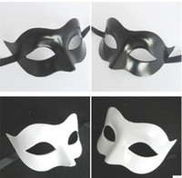 white masquerade masks - Black and white fox Half Face Mask Masquerade Masks props