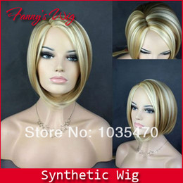 Free shipping Kanekalon Streaked Bob short straight wig,Blonde,African american fashion wigs,Support wholesale!