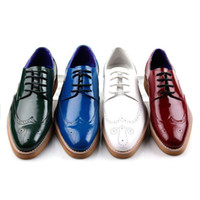 Men color shoe laces - Size In Color New High Quality Genuine Leather Sneakers Mens Casual Lace up Man Flat Platform Shoes GL816