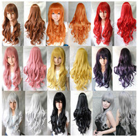 """Mix Color Long Girl 1 Pcs 31"""" 80cm Heat Resistant Bang Long Wavy Curly Cosplay Anime Wigs Party Lot 8 Colors Wholesale Price"""