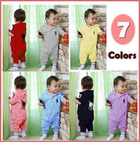 Unisex Summer 100% Cotton Babys Hooded Romper 7 Colors 3 Sizes 18M-36Mth Jumpsuits Bodysuits Baby Jumper Outwear