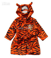 Robes Unisex Coral fleece Free Shipping Baby Boy Bathrobe Cute Tiger Stripe Cotton Infant Bathrobe Children Warm Sleepwear Hooded For Autumn And Winter Coral Fleece