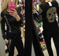 Wholesale New Harajuku Bat Borton Tracksuits Skull Spikes Rhinestone Rivet Skull Long Sleeve Sweater Suit Sport Suit Women Black white S M L Xl